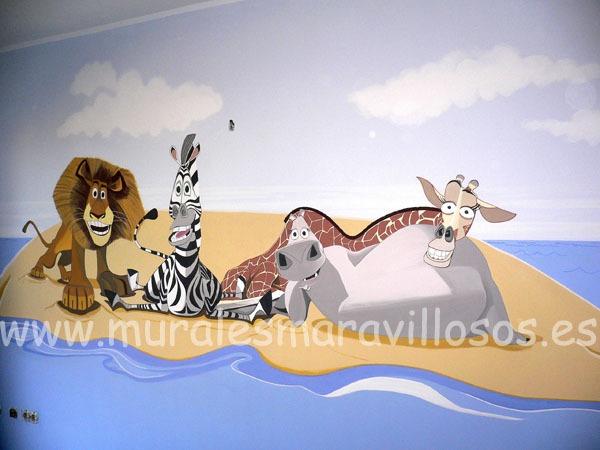 mural infantil madagascar
