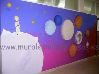 murales el principito pintados en colegios y guarderias