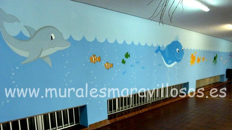 mural peces pintado en colegio