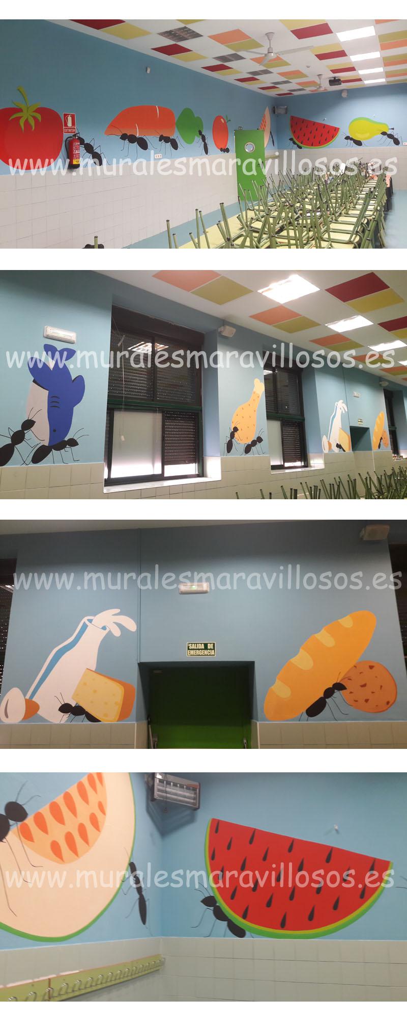 murales pintados en colegios y guarderias comedores escolares