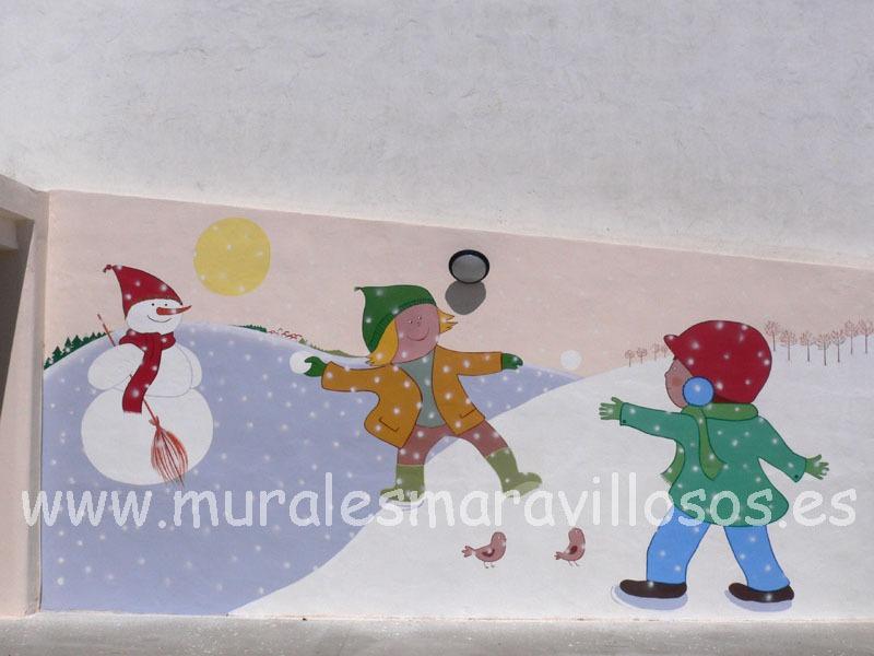 valla de escuela infantil con mural de niños y nieve