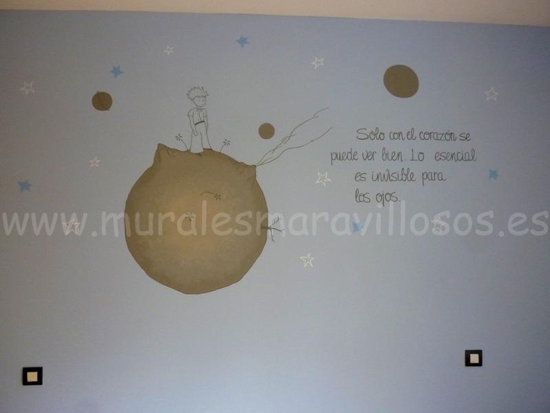 mural pintado el principito celeste