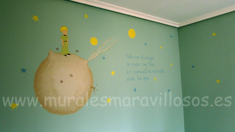 mural el principito fondo turquesa