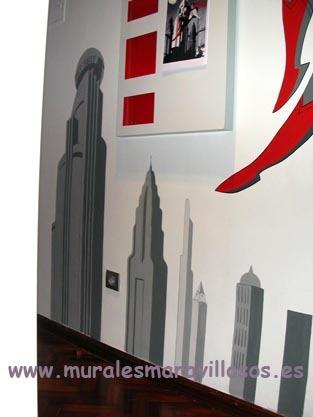 mural tematico superman edificios