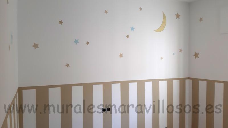 habitacion infantil zocalo pintado rayas