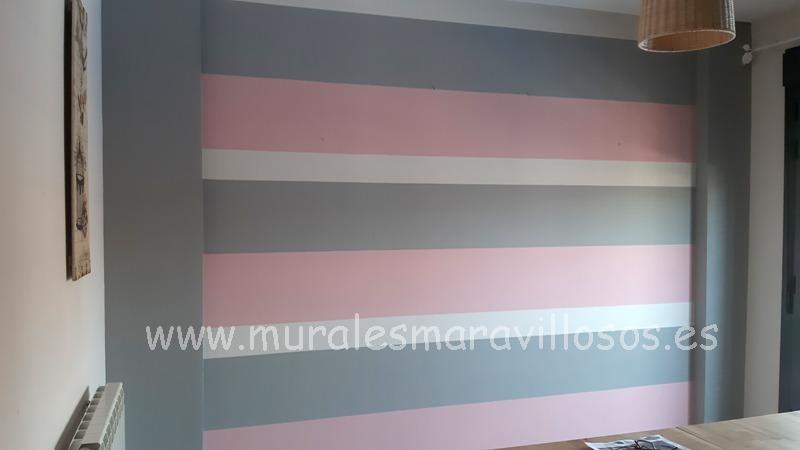 paredes salones rayas rosas grises