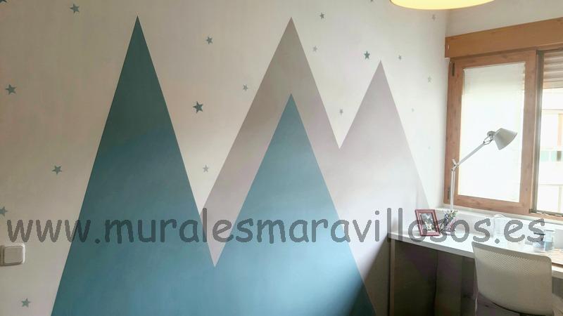 mural infantil montañas turquesa gris