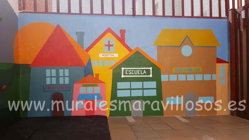murales casitas patios colegios