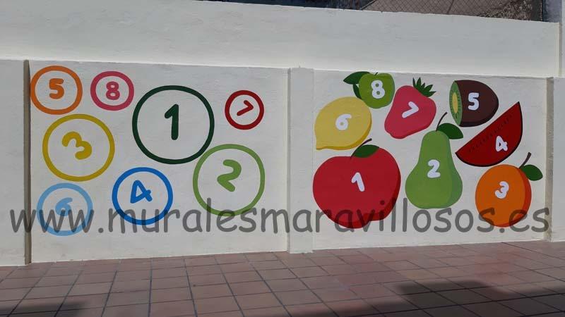 murales educativos numeros frutas
