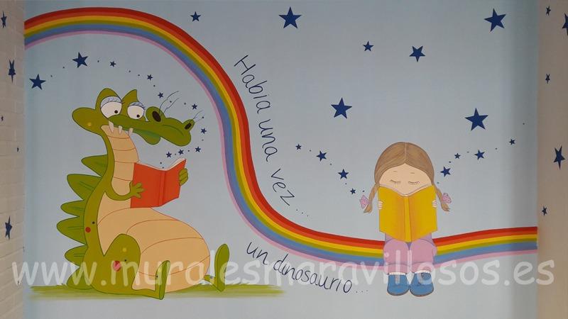 mural biblioteca colegios dragon niña