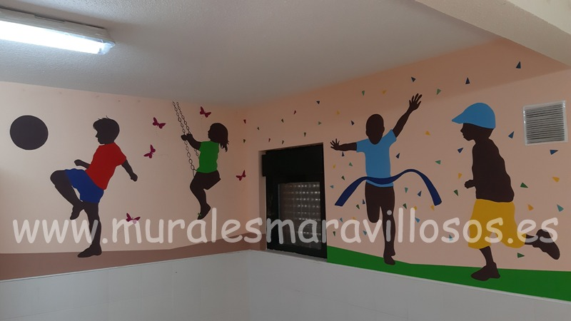 murales colegios niños siluetas