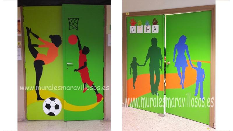 puertas de colegios pintadas