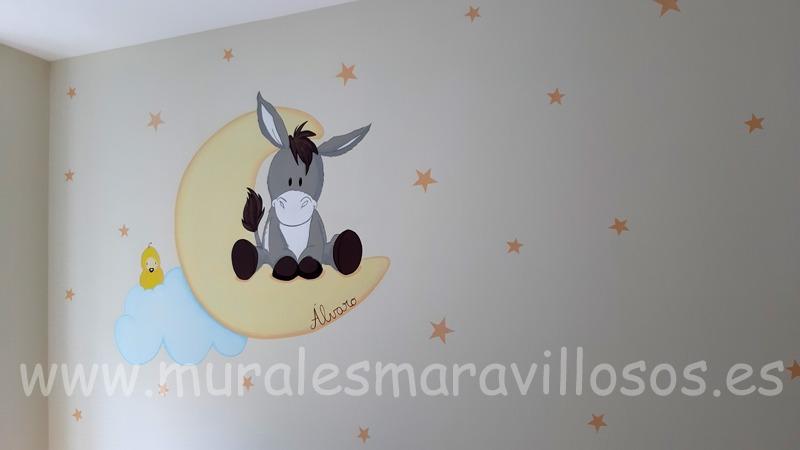 mural infantil burrito luna estrellas