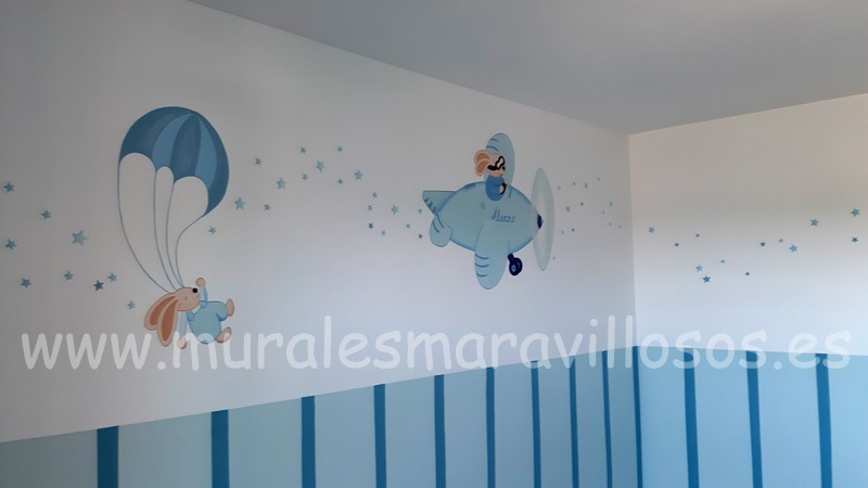 murales infantiles dos conejitos