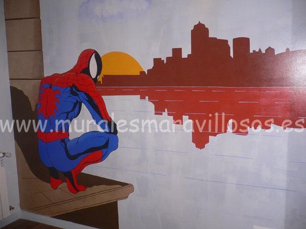 spiderman mural pintado en habitacion infantil