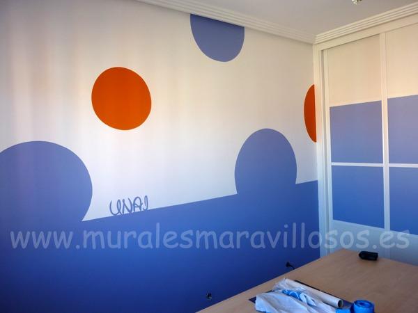dormitorios circulos azul naranja