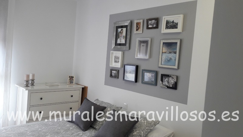 fotografias en pared de cabecero