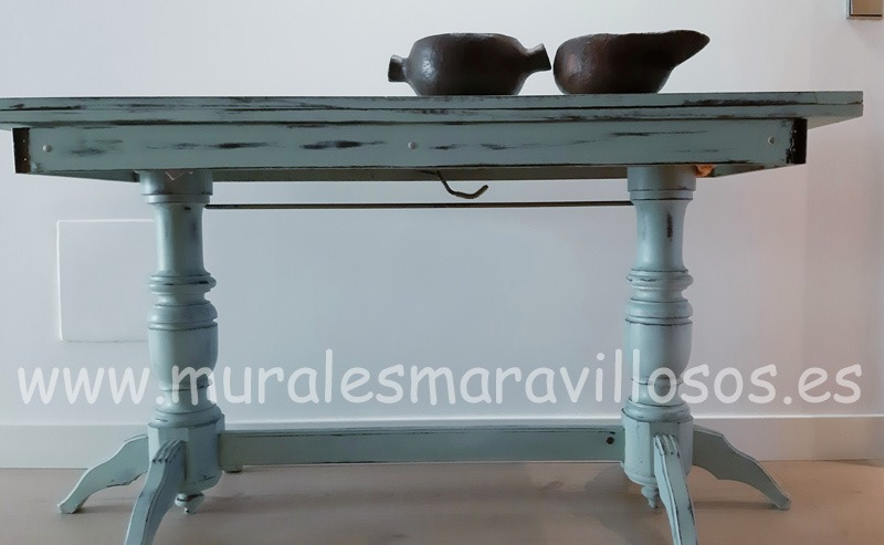 mesa azul chalk paint pintura tiza