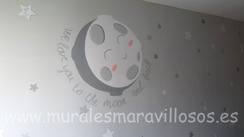 mural infantil luna estrellas habitacion gris