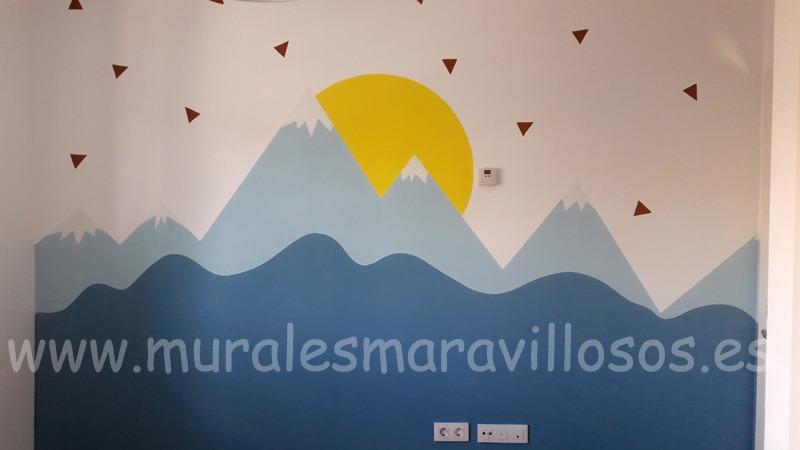mural montañas celeste azul infantil juvenil