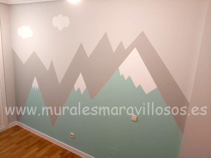 mural montañas dormitorio habitacion