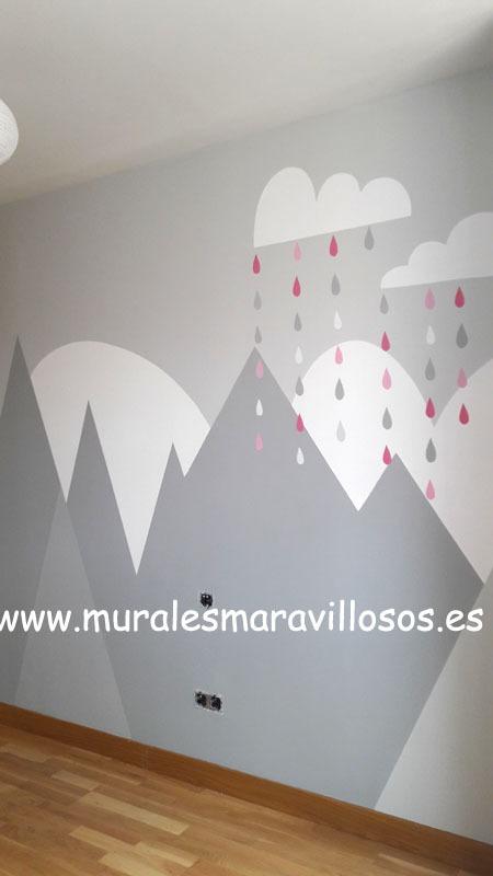 murales de montañas en gris