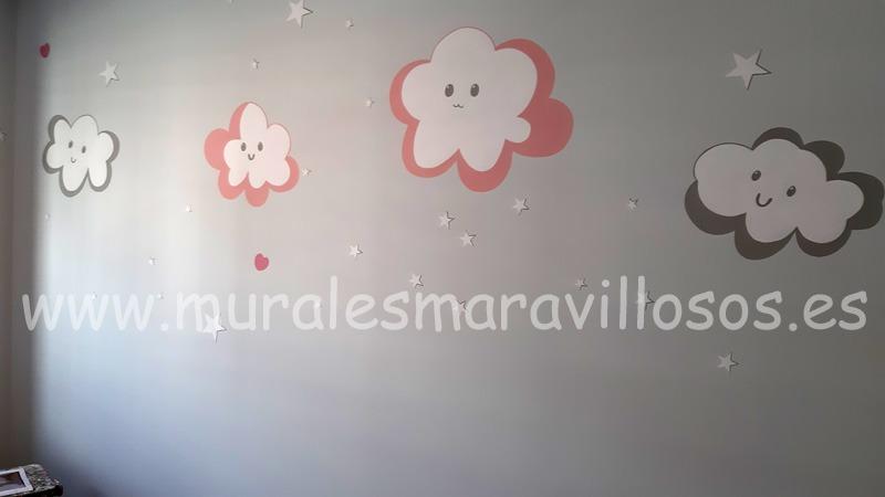 mural nubes rosas