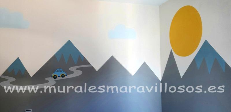 murales escandinavos montañas mellizos