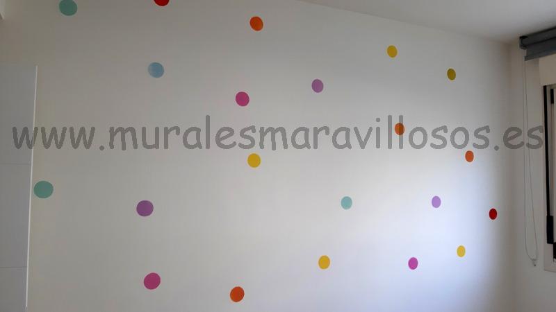 pintura paredes circulos colores dormitorio infantil bebe