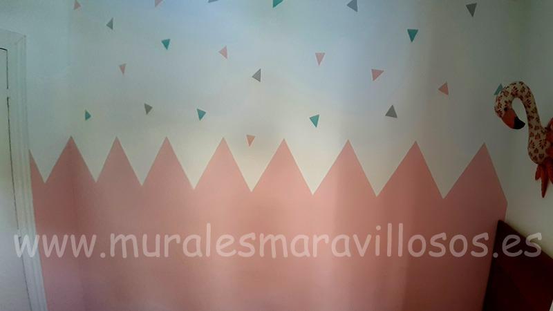 zocalo rosa triangulos picos dormitorio niña