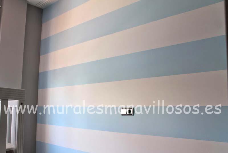 dormitorio pared rayas azules