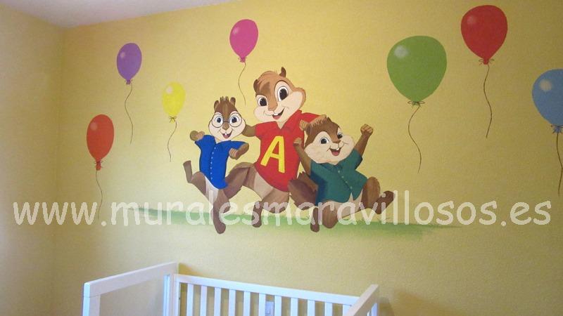 mural infntil alvin ardillas