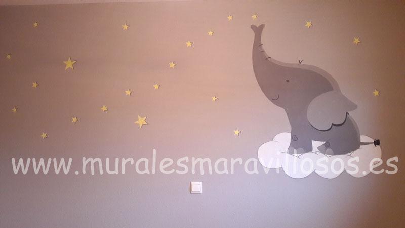 mural animales elefante