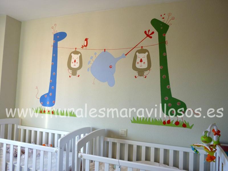mural de animales jirafas