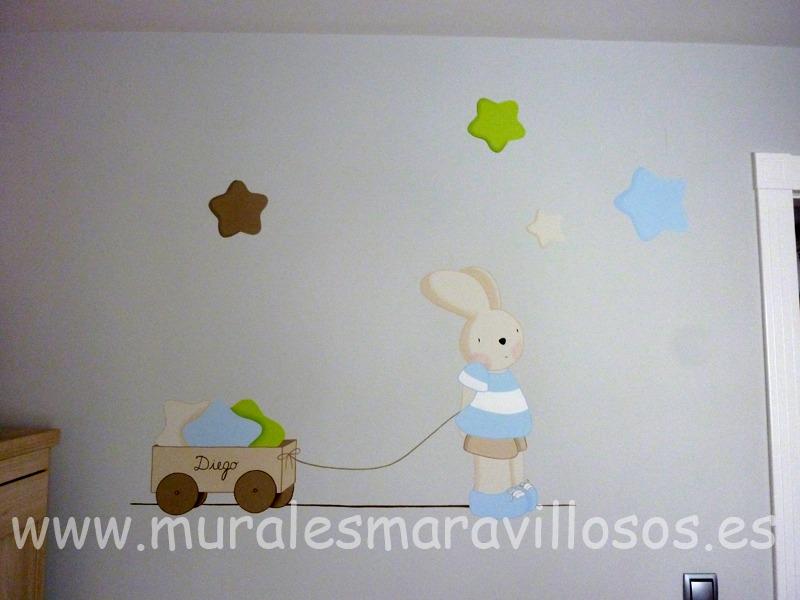 mural infantil conejito estrellas