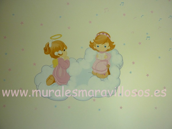 mural infantil dos angelitos estrellas