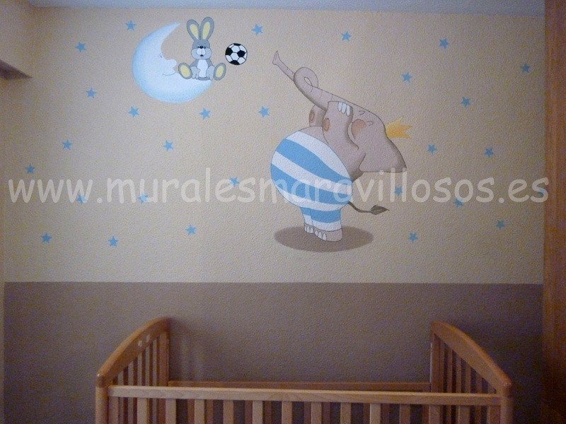 mural infantil pared elefante