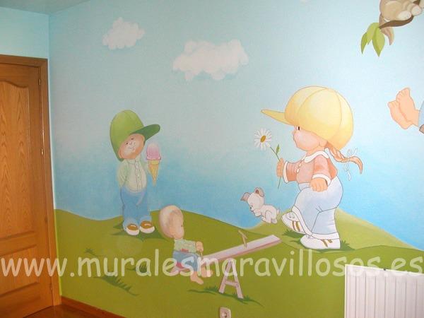 mural infantil pintado pared azul