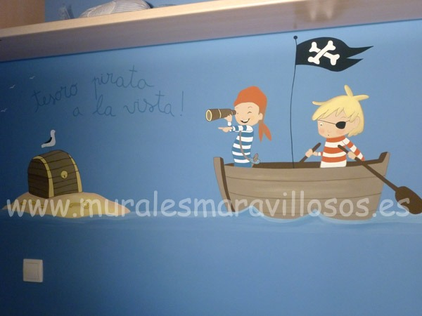 mural pared piratas