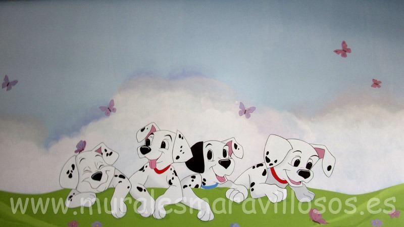 mural perritos dalmatas