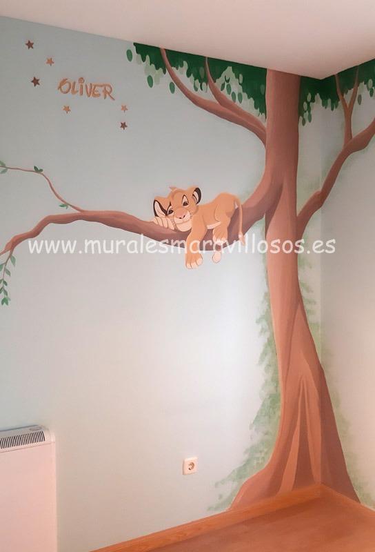 mural infantil simba arbol