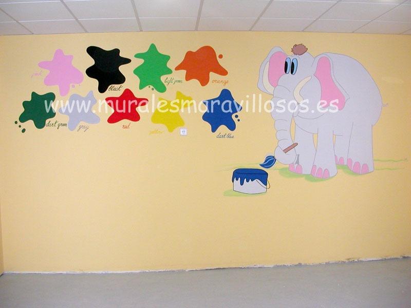 mural colegios guarderias elefante colores
