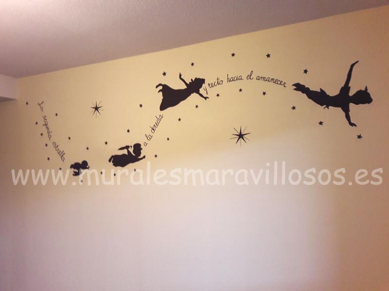 mural infantil peterpan siluetas