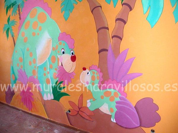 pintur mural dinosaurios