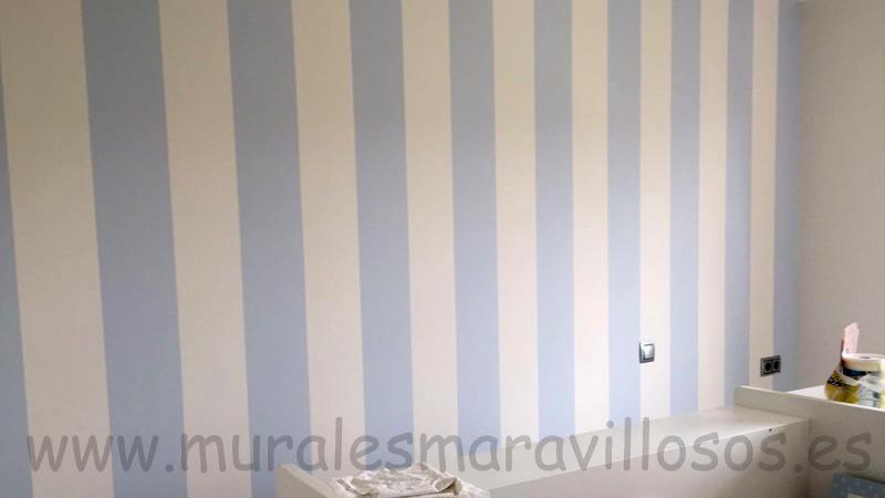 pintura original de habitaciones rayas