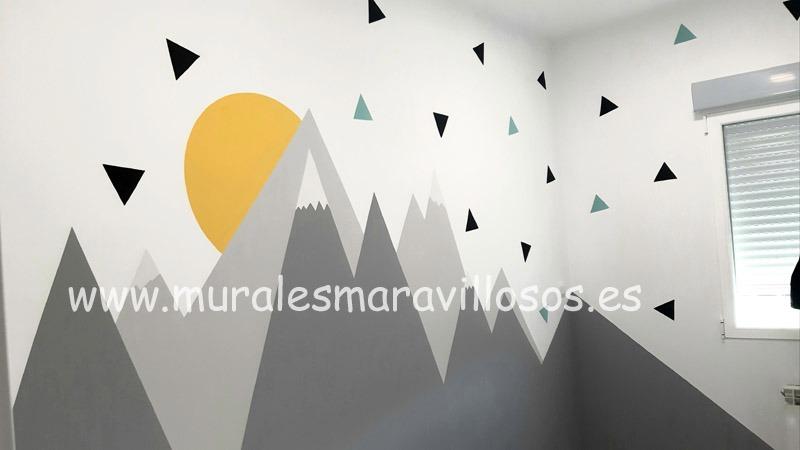 mural de montañas sol escandinavo