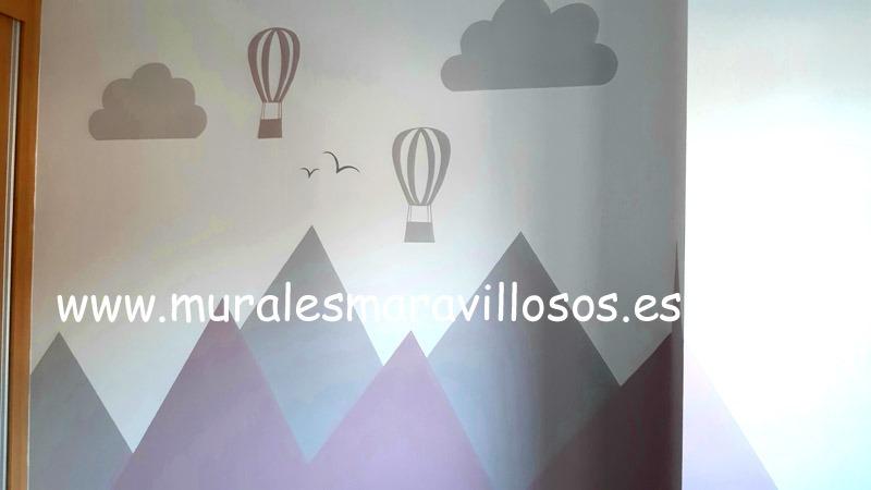 mural montañas y globos rosa gris