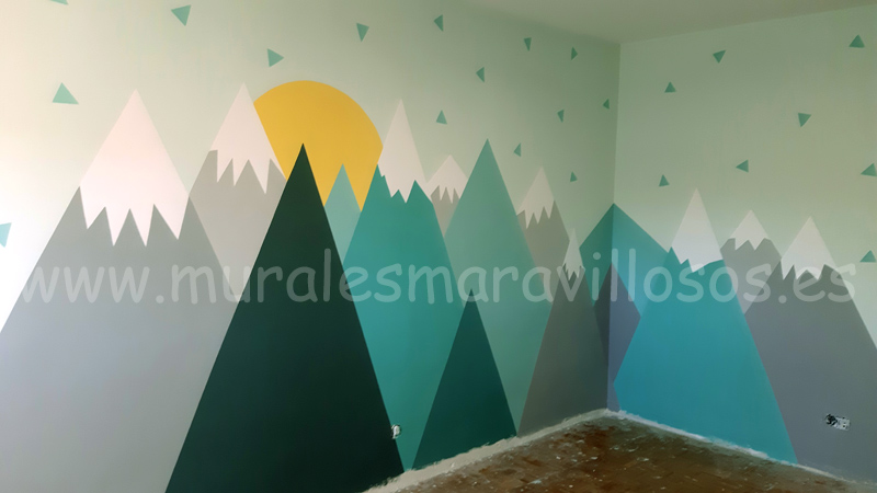 murales infantiles de montañas