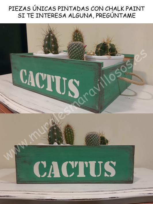 pintura a la tiza verde cactus