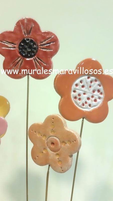 flores de ceramica colores